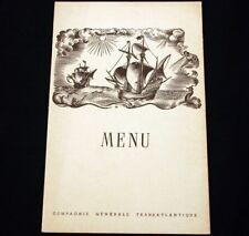 CGT FRENCH LINE SS ILE DE FRANCE Luncheon Menu 1951