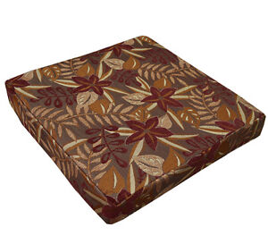 wf04t Brown Red Jungle Leaf Flower 3D Box Shape Sofa Seat Cushion Cover*Cus-Size