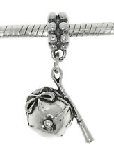 STERLING SILVER HORSE RACING GEAR JOCKEY HAT AND WHIP DANGLE EUROPEAN BEAD CHARM