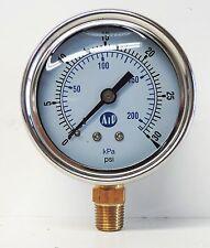 NEW Pressure Gauge Liquid Filled 0 - 30 psi 200 kpa Air Water Guage Gage AIP