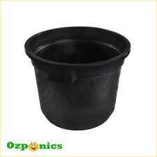 BLACK PLASTIC GARDEN POT FLOWER BUCKET + HANDLE52L 500MM SOLID WITH NO HOLES