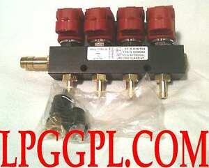 LPG GPL autogas Injectors rail of 4 Valtek type 30 OMVL romano brc zavoli prins