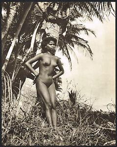 Original Vintage Female Tamil Indian Outdoor Nude Beach Photo Gravure Print b