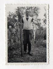 PHOTO ANCIENNE Pêche à la ligne Rivière Pêcheur amateur Poisson Vers 1940