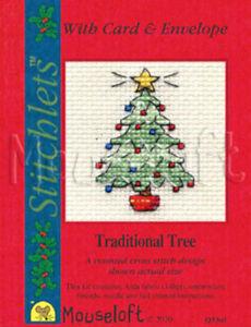 Stitchlets Christmas Card Cross Stitch Kit - Traditional Tree