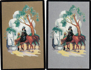 #314 2 (pair) vintage single playing swap cards - Carriages Gold & Silver   - JS