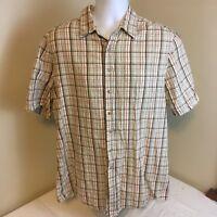 Eddie Bauer Mens Shirt Beige Orange Plaid Short Sleeve Large Tall LT 100% Cotton