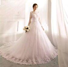 Reino Unido de manga larga de encaje blanco/marfil traje de novia de línea Barato Vestidos para Boda Talla 6-18