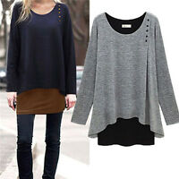 Plus Size Women Baggy Long Sleeve T-shirt Casual Blouse Shirt Tunic Tops Blouse