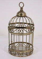 Gold Tone Metal 13� Hanging Decorative Bird Cage with Door