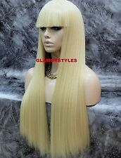 Long Straight With Bangs Bleach Blonde Full Synthetic Wig Hair Piece #613 NWT
