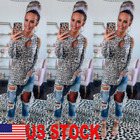 US Women Cold Shoulder Leopard Long Sleeve Tops Blouse Ladies Casual T Shirt Tee