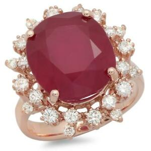 Certified Ruby 4.50cttw and 0.85cttw Diamond 14KT Rose Gold Ring