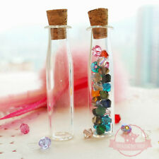 2 pcs Vials Miniature Glass Bottle Vials w/ corks Jar Dollhouse Food Craft