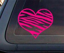Zebra Print Heart Car Decal / Sticker - HOT PINK