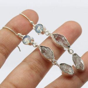 """Rough Herkimer Diamond 925 Silver Plated Handmade  Earrings of 2.4"""" Ethnic Gift"""