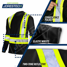 Black Hi Vis Shirt Ansi Class 1 Reflective Safety Long Sleeve High Visibility