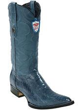 WILD WEST JEAN BLUE 3X-TOE GENUINE OSTRICH LEG WESTERN COWBOY BOOT (EE+)