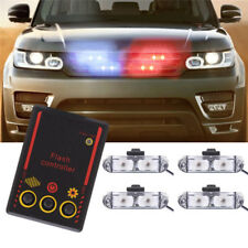 4x2 LED Wire Control Car Truck Police Strobe Emergency Flashing Lights Blue Red