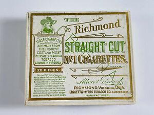 Antique 1800's Richmond Straight Cut Cigarettes EMPTY BOX Dewitt Ciinton stamp