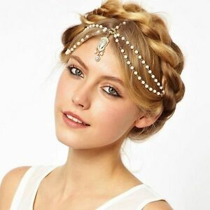 Lady Gold Plated Pearl Indian Hair Head Chain Forehead Jewelry Bridal Headband