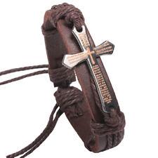 Black Brown Leather Christian Bible Cross Bracelet Wristband Men Women Adjustabl