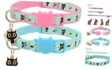 2 Pack Glow in The Dark Cat Collar with Bell Breakaway Light Blue & Pink