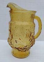 Vintage Anchor Hocking Amber Crinkled Glass Pitcher 32 OZ Rainflower Pattern