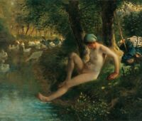 Jean-Francois Millet Goose Girl Bathing Fine Art Print on Canvas Painting Giclee