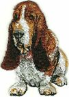 """2"""" x 3"""" Siting Brown White Basset Hound Dog Breed Patch"""