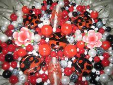 GLASPERLEN MIX 124 g INDISCHE GLASPERLEN/MURANO PERLEN/ROT/SCHWARZ/WEISS