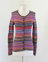 Peruvian Store Colorful Striped 100% Baby Alpaca Cardigan Sweater Geometric XS