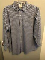 1818 Regent Brooks Brothers Men's Button Shirt L/S Blue & White Plaid Size 18-34