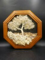 Hand Crafted Tree of Life Fiber Textile Woven Art Octagonal Frame