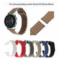Genuine Leather Loop Magnetic Band For Samsung Galaxy Watch Active S3 42 46mm