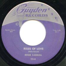 "EDDIE CARROLL - RULES OF LOVE 7"" VINYL SINGLE RARE 1961 VG+ FREE US. SHIPPING"