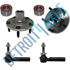 NEW Front Driver and Passenger Wheel Hub and Bearing + 2 Outer Tie Rod Ends