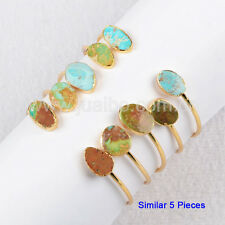 5Pcs Gold Plated 100% Real Natural Turquoise Adjustable Open Bangle HOT GG0235