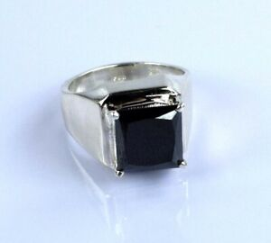 7.58 Ct. AAA Quality Square Black Diamond Solitaire Men's Ring