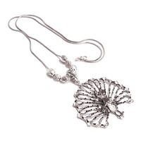 Oxidized Silver Plated Handmade Peacock Necklace Pendant Jewelry for women