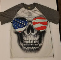 Faded Glory '72 Medium USA Red White Blue Flag Skull T-Shirt Shades Sunglasses