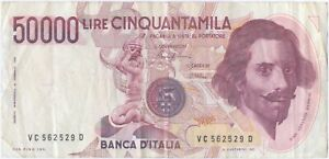 Italy 50000 Lire 1992  P-116 Pre-Euro G.L.Bernini. CONDITION : VF