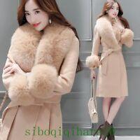 Fashion Ladies Mid Long Real Fox Fur Collar Jacket Winter Coat Outwear Thick Sz