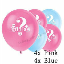 BABY SHOWER PARTY BABY GENDER REVEAL 30cm BALLOONS GIRL OR BOY HELIUM OR AIR 8PK