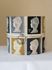 HANDMADE 20cm FABRIC DRUM LAMPSHADE FIRST CLASS STAMP BLACK COTTAGE FARMHOUSE