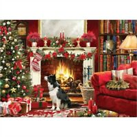 NEW 1000 piece Jigsaw Puzzle | Festive Fire Side | Christmas COLLIE Stocking