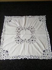 Beautiful Pure White Ribbonwork/Embroidered Tablecloth