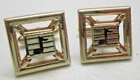 Vintage Swank Cufflinks Musical Music Note Gold Tone Black Square