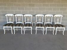 HIGH QUALITY DISTRESSED FRENCH COUNTRY WHEAT BACK DINING CHAIRS - SET OF 6