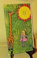 GIRAFFE PUZZLE FRAME TRAY MONAHAN LITTLE GIRL PINK DRESS SUN SUNSHINE VINTAGE.